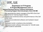 experience in it program project management cont d11