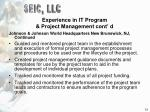 experience in it program project management cont d13