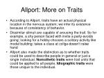 allport more on traits