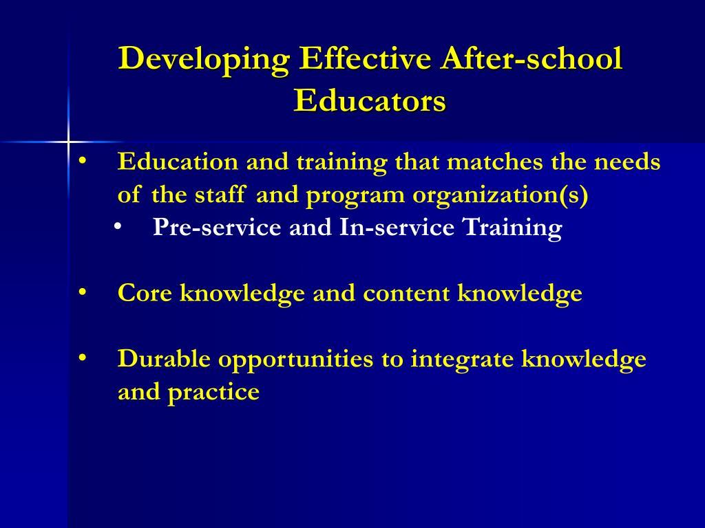 Developing Effective After-school Educators