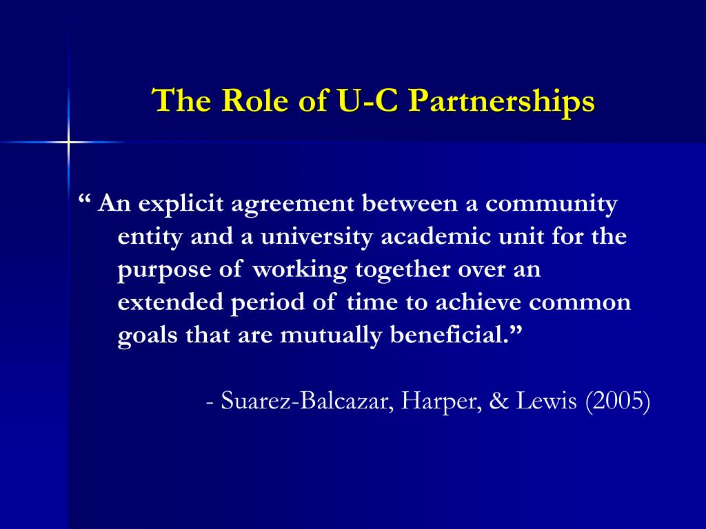 The Role of U-C Partnerships