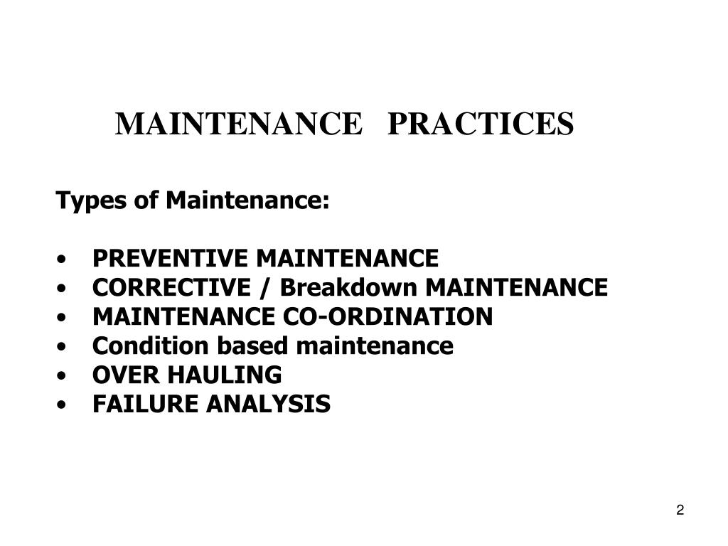 PPT - Maintenance philosophy and procedures PowerPoint