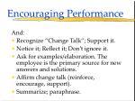 encouraging performance114