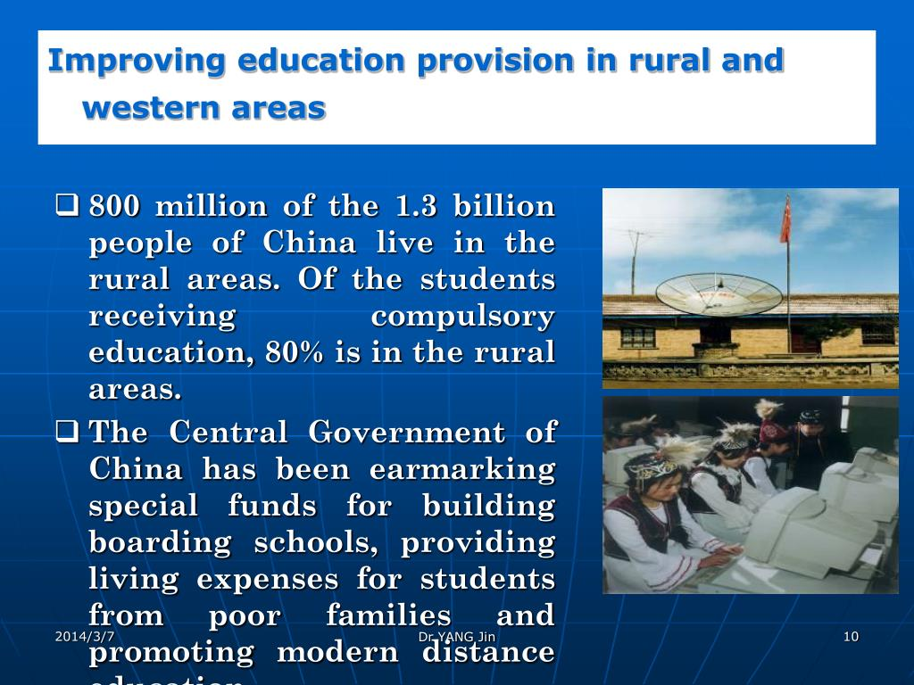 Improving education provision in rural and western areas