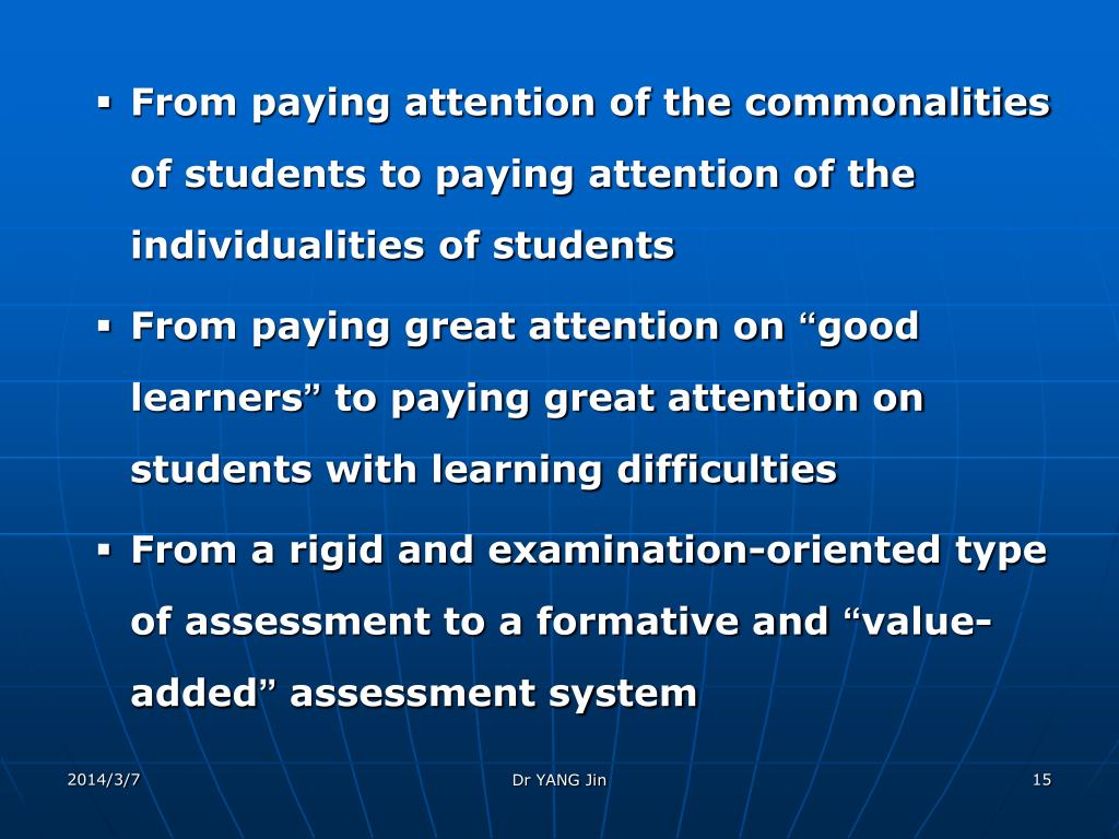 From paying attention of the commonalities of students to paying attention of the individualities of students