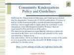 community kindergartens policy and guidelines