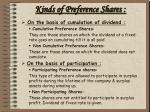 kinds of preference shares