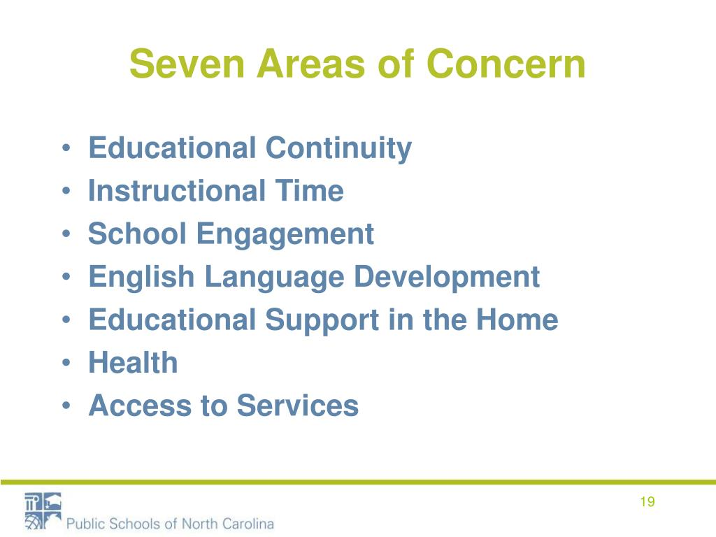 Seven Areas of Concern