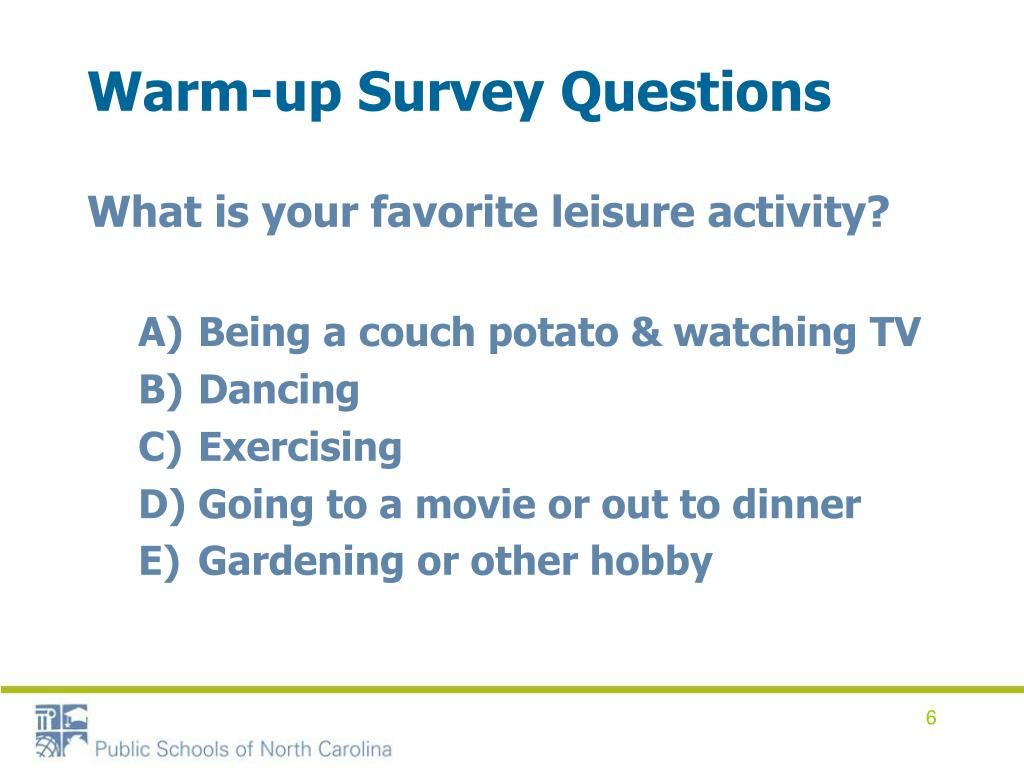 Warm-up Survey Questions