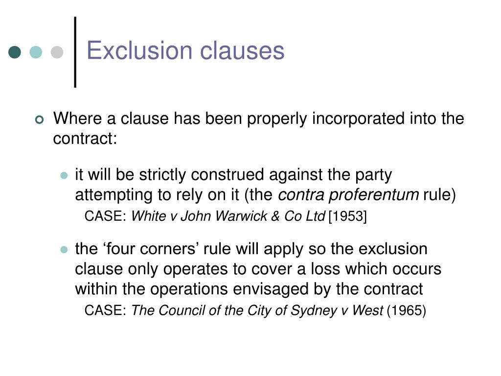 exclusion clauses essay