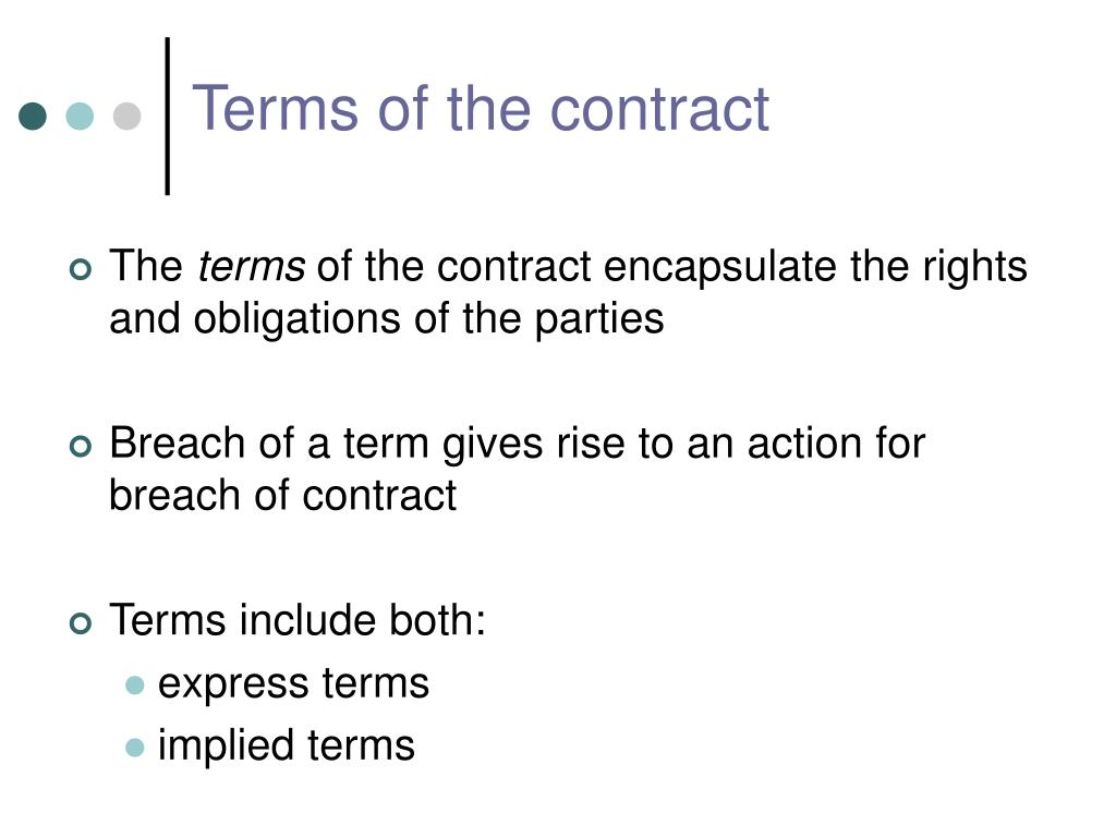 terms of the contract l.