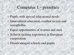 comenius 1 priorities