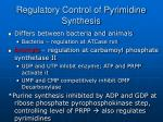 regulatory control of pyrimidine synthesis