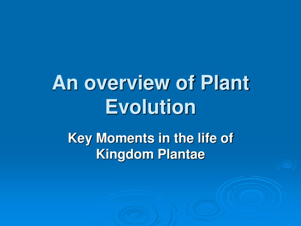 an overview of plant evolution l.