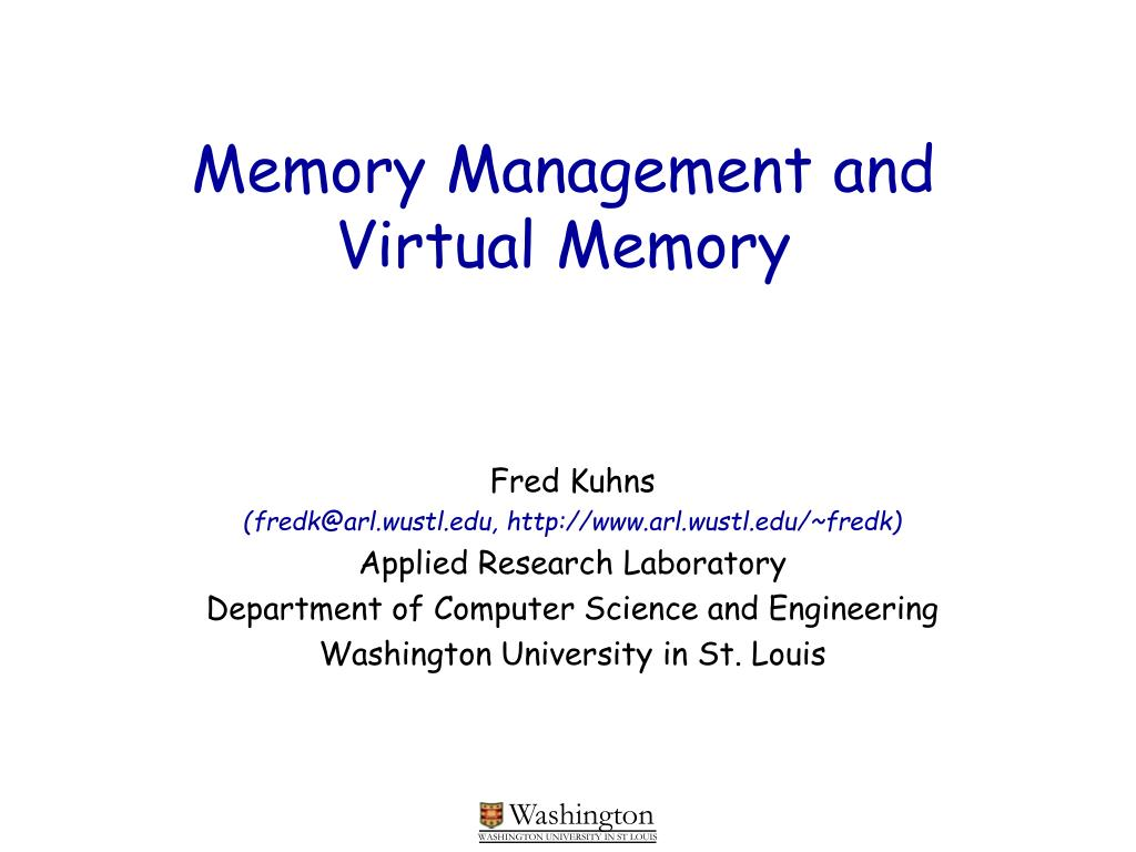 memory management and virtual memory l.