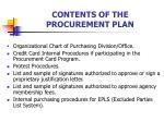 contents of the procurement plan