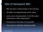 fate of senescent rbc
