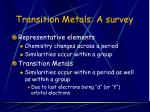 transition metals a survey