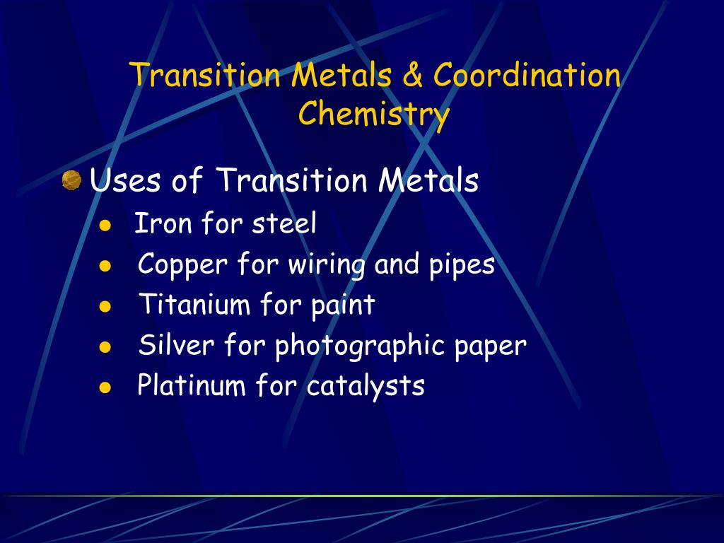 transition metals coordination chemistry l.