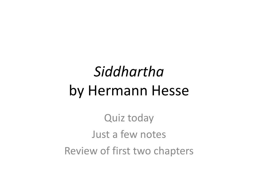 siddhartha by hermann hesse l.