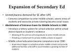 expansion of secondary ed