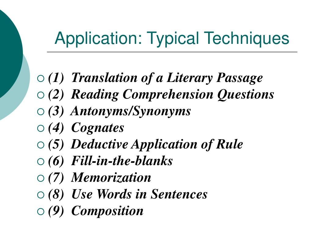 Application: Typical Techniques