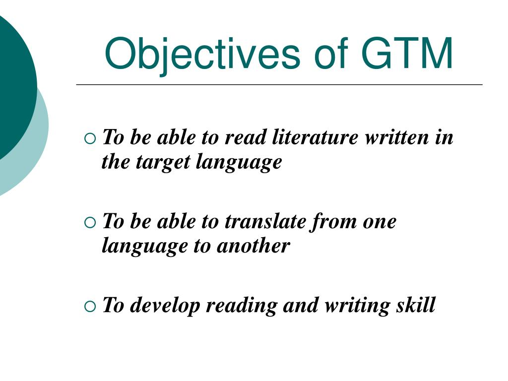 Objectives of GTM