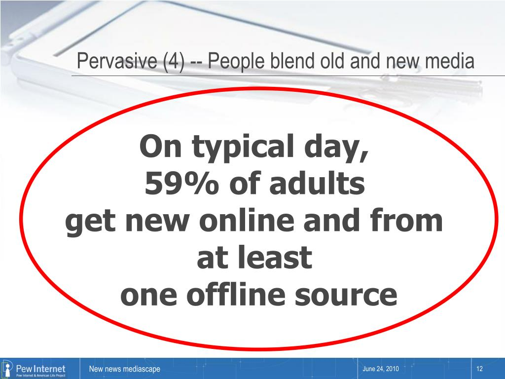 Pervasive (4) -- People blend old and new media