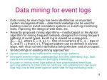 data mining for event logs