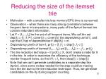 reducing the size of the itemset trie