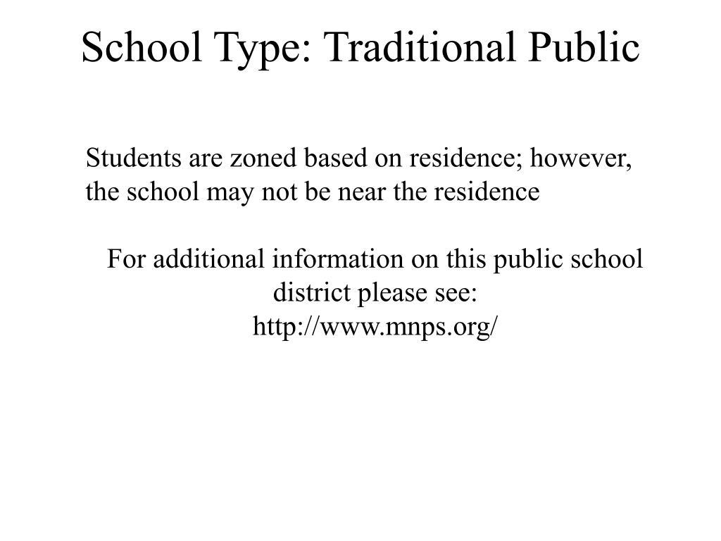 School Type: Traditional Public