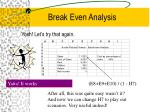 break even analysis17