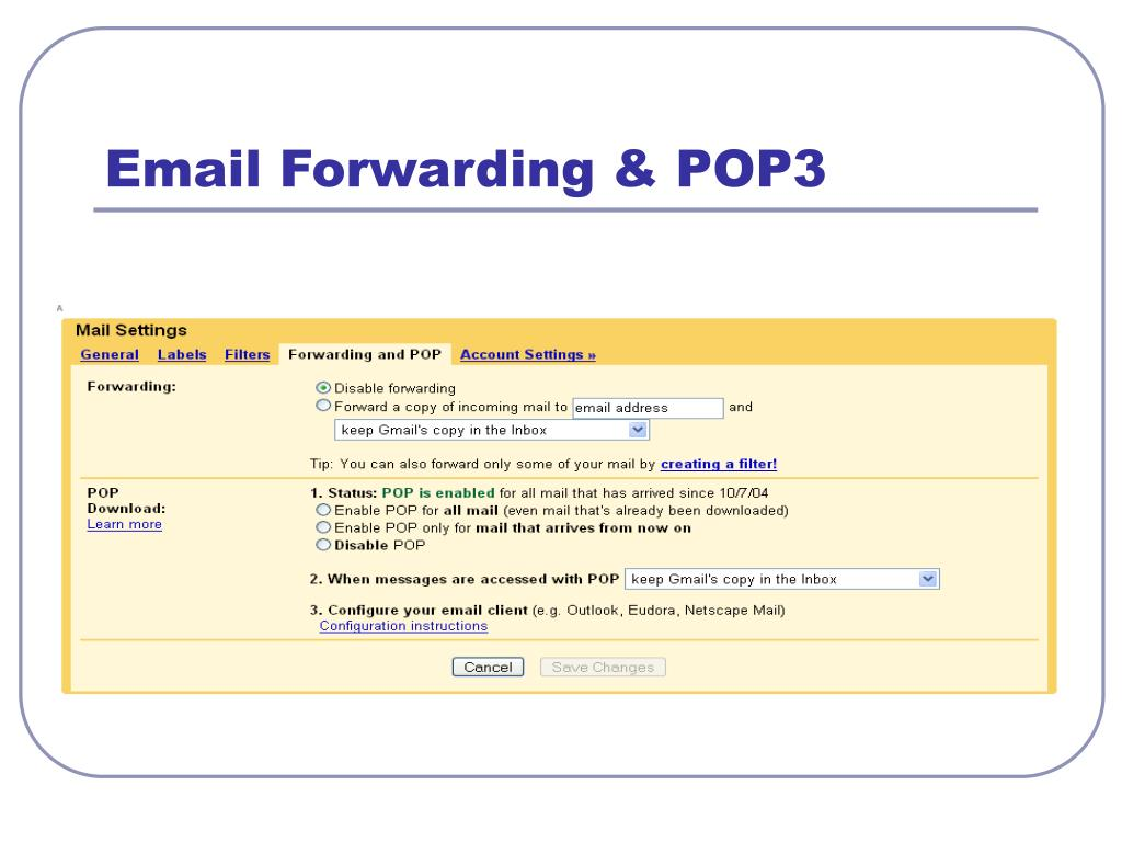 Email Forwarding & POP3