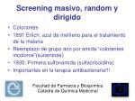 screening masivo random y dirigido