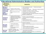 educational administrative bodies and authorities