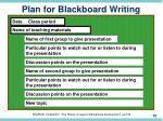 plan for blackboard writing
