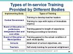 types of in service training provided by different bodies