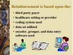 reimbursement is based upon the