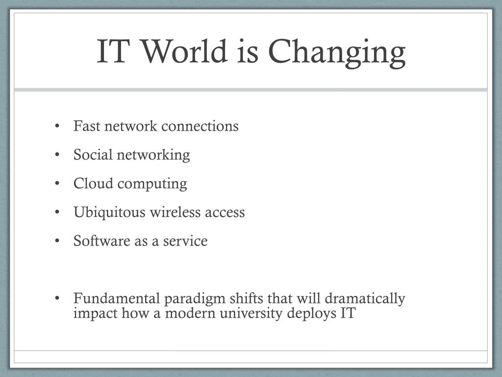 IT World is Changing