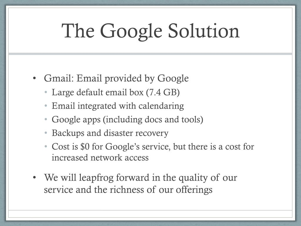 The Google Solution