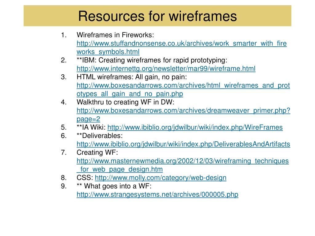 Resources for wireframes