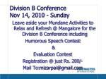 division b conference nov 14 2010 sunday