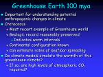 greenhouse earth 100 mya