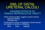 swl of distal ureteral calculi