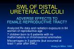 swl of distal ureteral calculi65