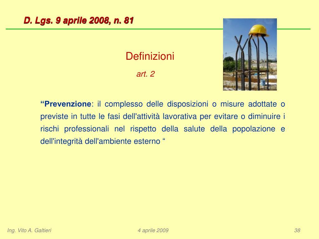 D. Lgs. 9 aprile 2008, n. 81