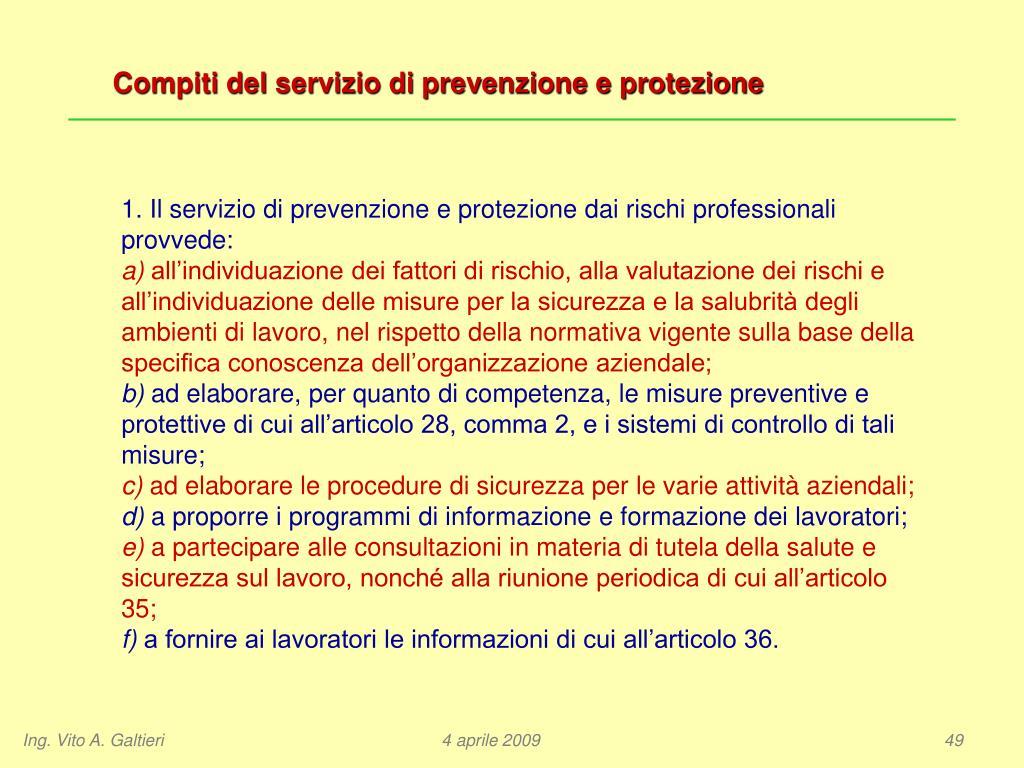 Compiti del servizio di prevenzione e protezione