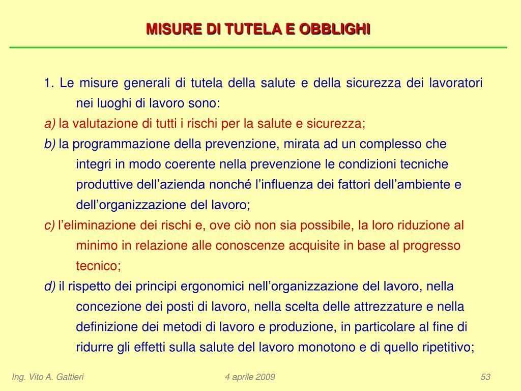 MISURE DI TUTELA E OBBLIGHI