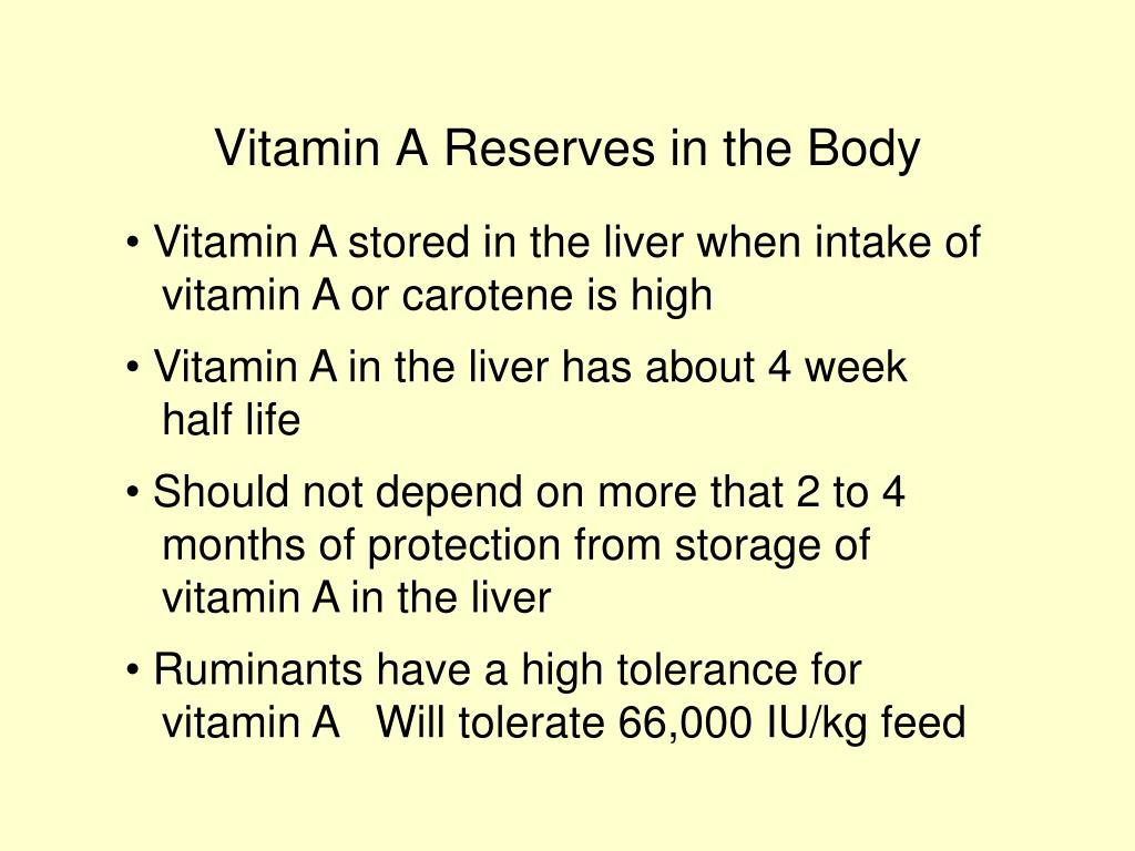 Vitamin A Reserves in the Body