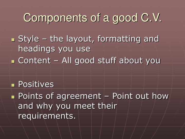 Components of a good c v